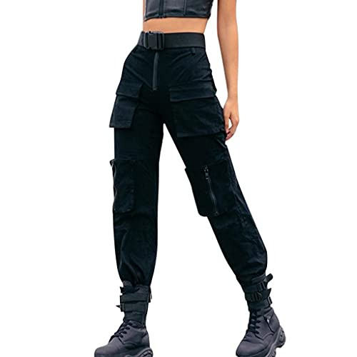 BaZhaHei Damen Mode Einfarbige Schwarz Streetwear Cargohose Elastisch Classic Lange Loose Fit Outdoors Sporthose Jogginghose Climbing Pants mit Reißverschluss