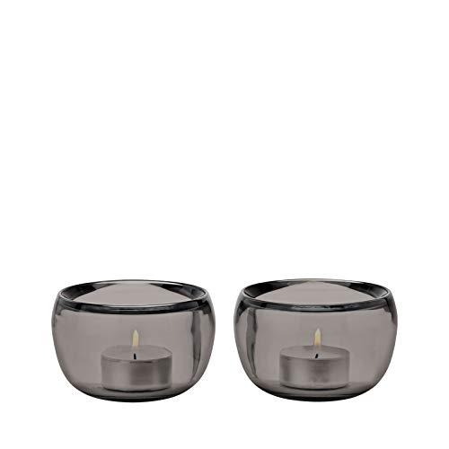Stelton - Teelichthalter, Kerzenhalter - Ora - Glas - Smoke - 2er Set