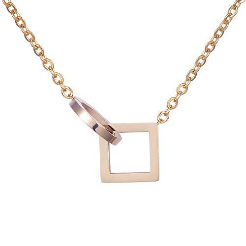 Morella Collana da Donna in Acciaio Inox Oro Rosa con Ciondolo Cerchio e Quadrato in Sacchetto di Velluto