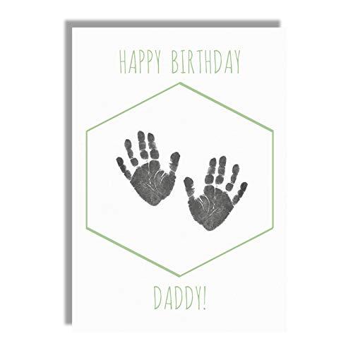 Geburtstagskarte für Väter mit Handabdruck-Motiv, Andenken