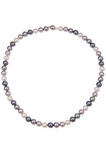 Leslii Perlenkette in Bunt 45cm mit Magnetverschluss in Silber, Muschelkernkette mit bunten Perlen, Collier mit echten Perlen
