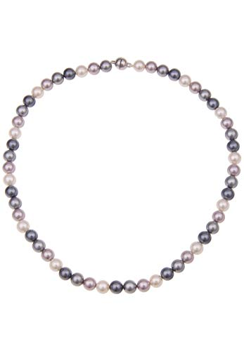 Leslii Damenkette Bunte Perlen-Kette Perlen-Collier echte Muschelkern-Perlen Kurze Halskette Modeschmuck-Kette 45cm Bunt