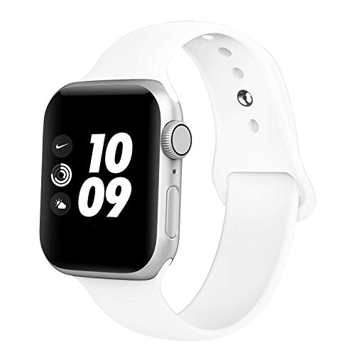 Compatible with Apple Watch Bands 38MM 40MM 42MM 44MM, Soft Silicone Replacement Sport Straps Compatible with iWatch Series 5, 4, 3, 2, 1 (38MM 40MM, Small White)