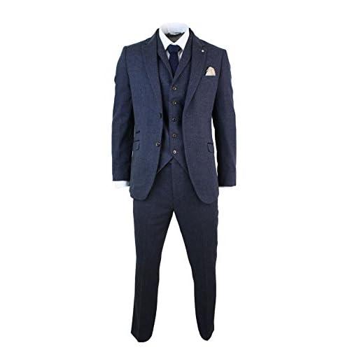 Mens 3 Piece Wool Blend Herringbone Tweed Suit Blue Brown Vintage Tailored Fit – Tan, 44UK/US & 54EU-Jacket, 38-Pants