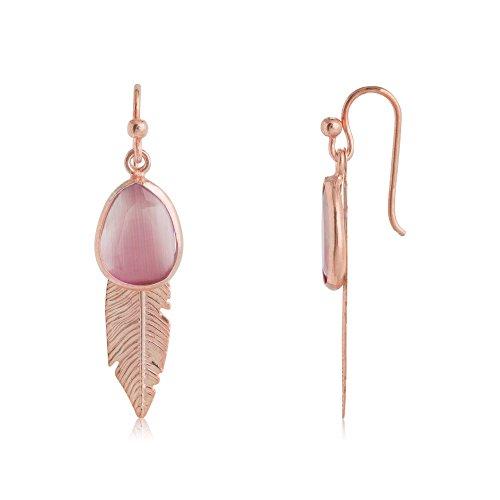 Córdoba Jewels |Pendiente de plata de Ley 925 bañado en oro rosa con diseño Cuarzo rosa. Pluma de 40mm.