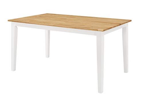 Duhome Esstisch aus Holz Weiß 150x90 cm Esszimmer Tisch Tischplatte Naturholz massiv Robust