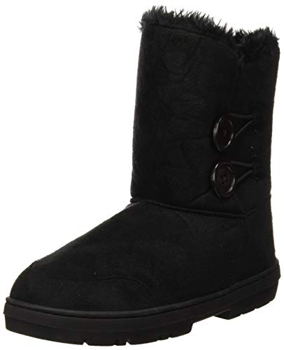 Mujeres Doble Button totalmente alineada botas piel impermeable de la nieve del...