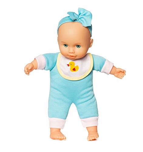 Süße Babypuppe mit Weichkörper für Junge - Ab 1-2 Jahren geeignet (Blau mit Stirnband)