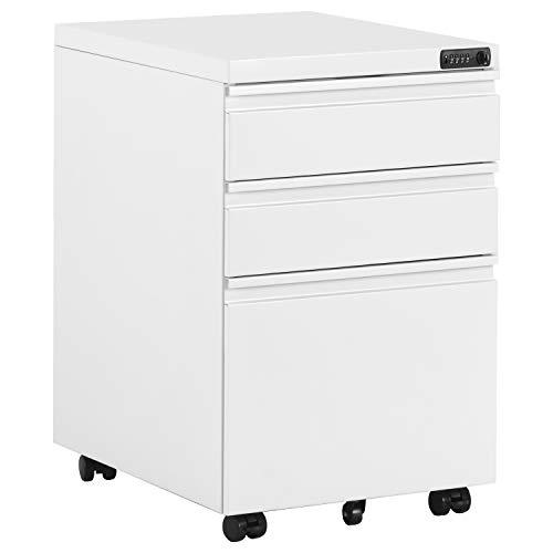 MUNCASO - Cajonera con ruedas para oficina con números (incluye 3 cajones, acabado sólido, ideal para escritorio, muebles de oficina, contenedores, con ruedas y cajones), color blanco