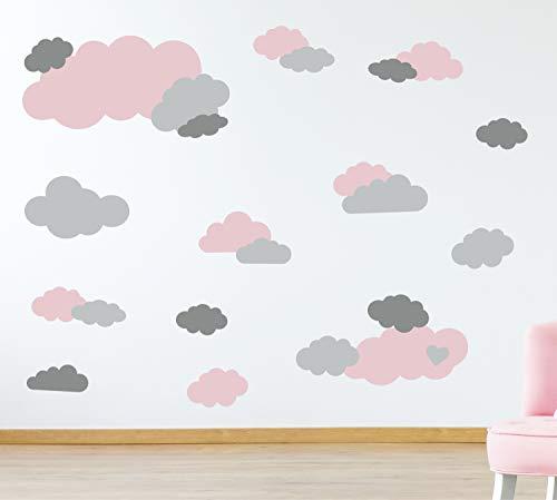 timalo® 35 Stück Wandtattoo Kinderzimmer XL Große Wolken Himmel Pastell Wandsticker – Aufkleber Wolkenset | 73091-SET1-35 | altrosa hellgrau grau