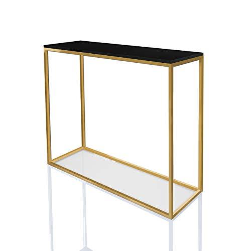 Konsole MODERN Gold Matt 100 cm Schwarz Hochglanz Schminkkonsole HG Konsolentisch Tisch Beistelltisch Wohnzimmertisch Flurtisch Dekotisch Eingangsbereich Metallrahmen (Schwarz Hochglanz)