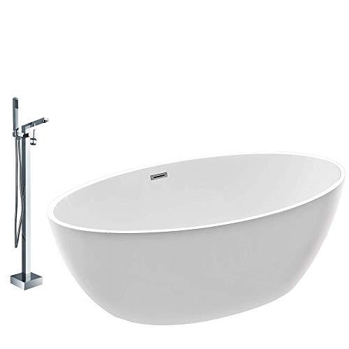 Vasca da bagno freestanding DESTINO bianco - rubinetti a scelta, Rubinetti a scelta:Con rubinetteria 1521, Sistema drenaggio:Con sistema di drenaggio