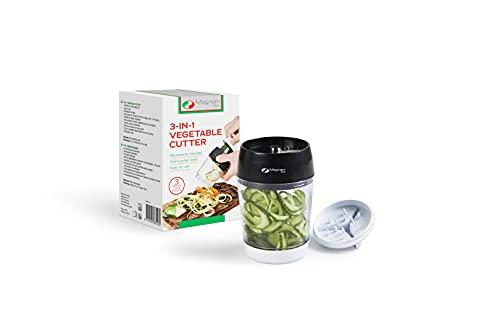 MAGNANI Spiralizzatore di Verdure 3 in 1, Tagliaverdure Elettrico, Taglia verdure a Spaghetti con Contenitore, Mandolina per Verdure, 200 ml