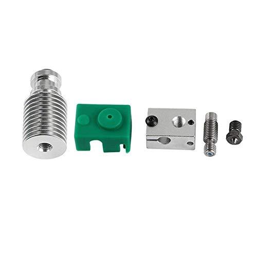 QOHFLD Accesorios de Impresora Piezas de Impresora 3D, extrusora Mejorada Hotend HeatSink Kit PT100 V6 Bloque Calefactor para Impresora 3D de 1,75 mm