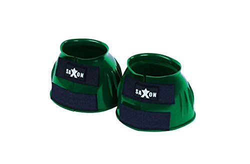 Saxon. Double Tape PVC Ribbed Bell Boots Hunter Green Pony