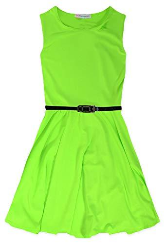 Jolly Rascals Mädchen Skater-Kleid für Party, Sommer, Tanzkleid, Alter 5 6 7 8 9 10 11 12 13 Jahre Gr. 11-12 Jahre, neon Green