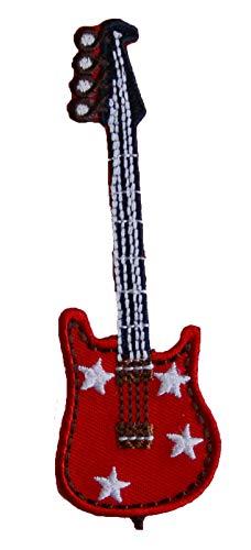 TrickyBoo 2 opstrijkbare gitaar 11 x 10 cm rode ruiten ster 9 x 9 cm set patch applicaties voor het repareren van kinderkleding met design Zürich Zwitserland voor Duitsland en Oostenrijk