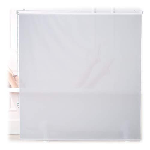 Relaxdays Duschrollo, 160x240 cm, Seilzugrollo für Dusche & Badewanne, Decke & Fenster, Badrollo wasserabweisend, weiß 10034183_1049