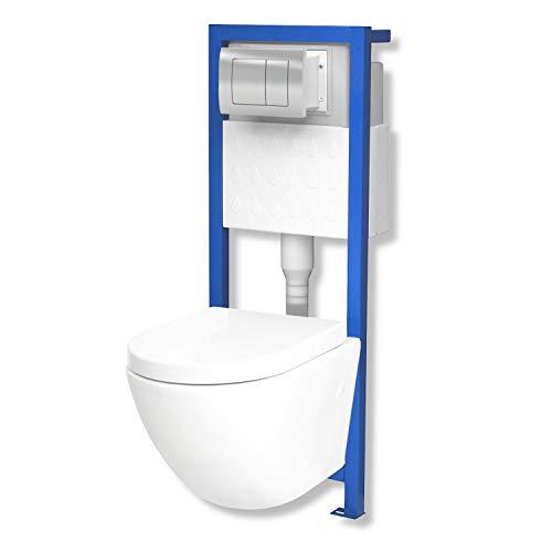 Domino Lavita Vorwandelement inkl. Drückerplatte + Wand-WC Sofi ohne Spülrand + WC-Sitz mit Soft-Close Absenkautomatik Drückerplatte QS (mattverchromt)