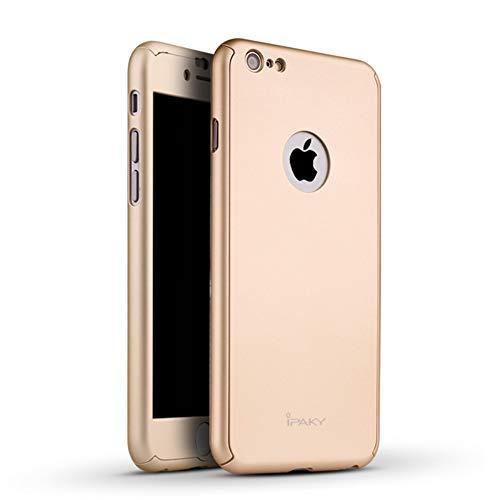 IPAKY Carcasa rígida para iPhone 6/6S combinada y cristal blindado, color dorado