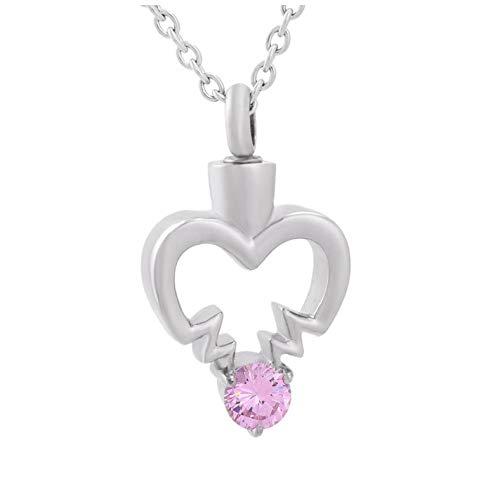 GenericBrands Collar con Colgante de urna de joyería de cremación roja de Mariposa con Encanto de Acero Inoxidable en Forma de corazón para Mujer