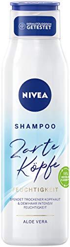 NIVEA Zarte Köpfe Shampoo Feuchtigkeit (300 ml), feuchtigkeitsspendendes Shampoo pflegt Haar- und Kopfhaut, pH-optimiertes Haarshampoo für gesunde Kopfhaut