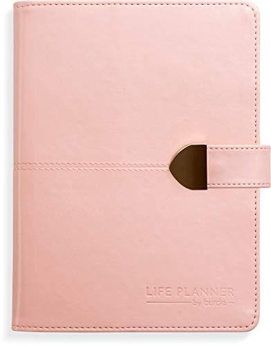 Life Planner 2020-2021 - Agenda de 2020-2021 (formato A5, piel sintética, con cierre de botón, calendario 2020-2021), color rosa
