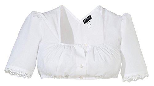 Jobeline Trachtenbluse Damen Dirndlbluse Modell: Loni Farbe: Weiß Gr. 38 Bluse mit Spitze am Arm für das Dirndl mit 1/2 Arm und Balkonette-Ausschnitt Bluse