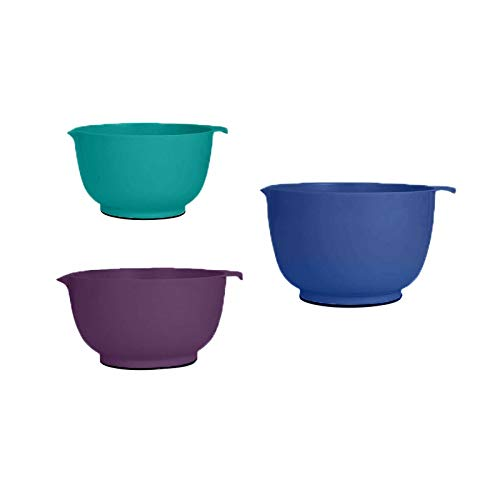 Professional Set of three Non-Slip Mixing Bowls Spout, Blue, Purple, Teal-Mixing bowl-Mixing bowls-Bowls for kitchen-Mixing bowls for kitchen