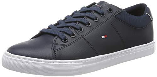 Tommy Hilfiger Herren Essential Leather Collar Vulc Sneaker, Blau (Midnight Cjm), 42 EU
