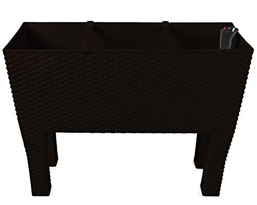 Ondis24 Hochbeet, Pflanzkübel, Rato High, Blumenkübel, 60 x 25 x 48 (H) cm, Kunststoff, Bewässerungssystem (Braun)