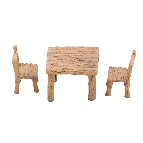 Winwinfly Fee Garten Kit 3 Stücke Miniatur Tisch Stühle DIY Puppenhaus Fee Garten Ornament Mini Landschaft Dekoration