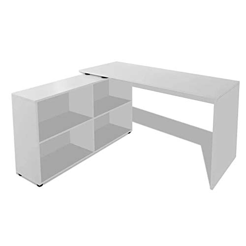 Pissente Mesa giratoria para ordenador, en forma de L, color blanco, estación de trabajo multifuncional con 4 compartimentos de almacenamiento para oficina en casa