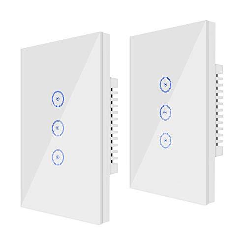 Wi-Fi (2 PCS) Smart Light Switch 3 Gang Jinvoo US Panel Switch, Smart Phone Remote Vetro Temperato, Timer, Nessun Hub Richiesto, Compatibile con Alexa/Google Home, Alimentato da Tuya, Bianco(3 gang)