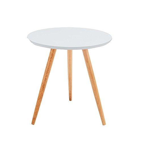 Tables HUO, WoodLuv Vintage Bord Rond/café/Salle à Manger/lumière Basse - Blanc, texturé, Noir Polyvalent (Couleur : Blanc, Taille : 48 * 61CM)