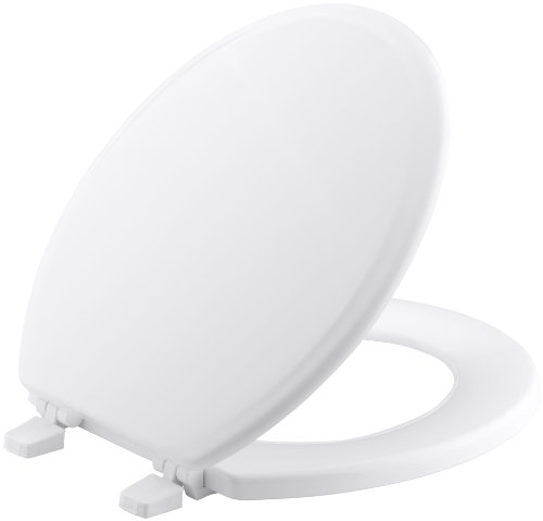KOHLER K-4695-0 Ridgewood Molded-Wood with Color-Matched Plastic Hinges Round-front Toilet Seat, White