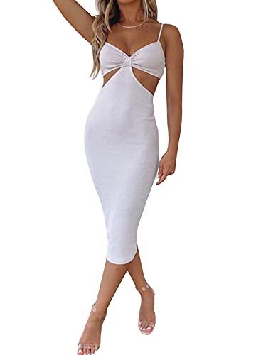 Luckyfashion Vestido sexy de punto para mujer, corte sin espalda, bodycon con correa de espagueti con cuello en V, para fiesta de club, maxi vestidos