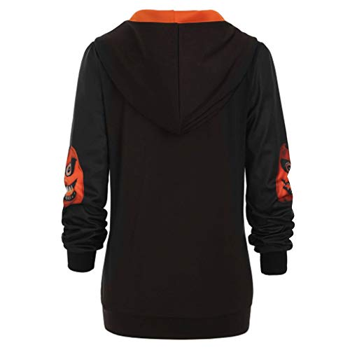 Affordable Women's Sweatshirt Halloween Pumpkin Print Hooded Sweatshirts Blouses Tops Long Sleeve Co...