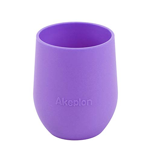 Silicone Training and Learning Tumbler Cup for Babies Toddlers, Open Cup Perfect for Baby Independent Drinking, Anti-Slip BPA Free Tiny Cup ,Violet