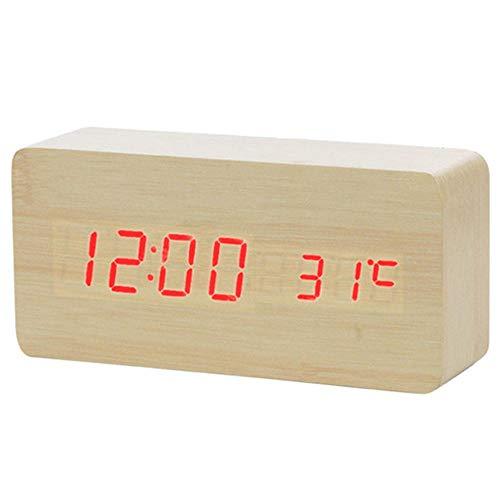 Alarmclocker8B Thermomètre électronique en Bois réveil réveil réveil Table Horloge USB Profil de Charge Commande vocale électronique décoration de la Maison NOUVEAU-15x4x7(cm) 18