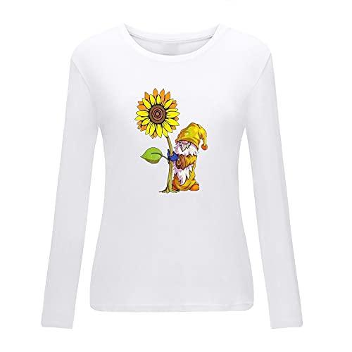 neiabodos Blusa elegante curvada para mujer de manga larga con estampado de elfos de girasol y manga larga...