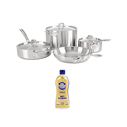 Viking Professional 5-Ply 7-Piece Cookware Set (Satin Finish) with All Purpose Soft Cleanser (2 Items)
