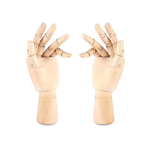 MYCreator - Maniquí de madera para niños, de 7 pulgadas, sección a mano, articulado y articulado para mano izquierda y derecha movible, modelo de mano para bocetos, dibujos, pintura (L+R, 7 pulgadas)