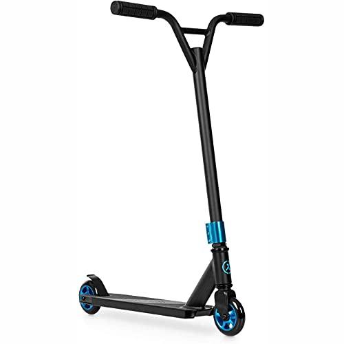 Patear scooter scooter stunt scooter ciudad de la ciudad, ruedas de PU de 100 mm ABEC 7 rodamientos de bolas 360 ° y-manillar Paso Freno 100 Kg MAX PALO PALO ANTERIOR SUPERFICIE ( Color : Blue )