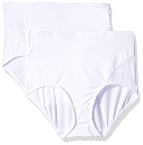 Bali Women's Passion for Comfort 2-pk Firm Control Brief, White, X Large
