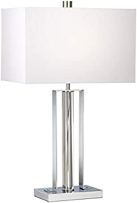 "LAMPS PAIR 30/""H HOTEL STYLE FANCY HIGH-END DUEL BULB SHADED CHROME TABLE LAMPS"