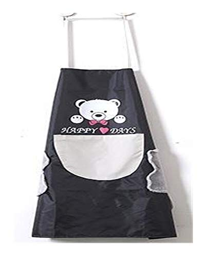 Kitchen Aprons Bear Home Cooking Kitchen Apron Side Wipes Waterproof Adjustable Buckle Oxford Cloth Big Pocket Apron for Woman for festival (Color : Black grey)