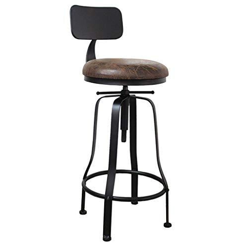 QNN Schreibtischstuhl, Vintage Industrial Barhocker Höhenverstellbarer Drehbarer Küchen-Esszimmerhocker Stuhl Rundes Natürliches Sitzmetallbein,Ein