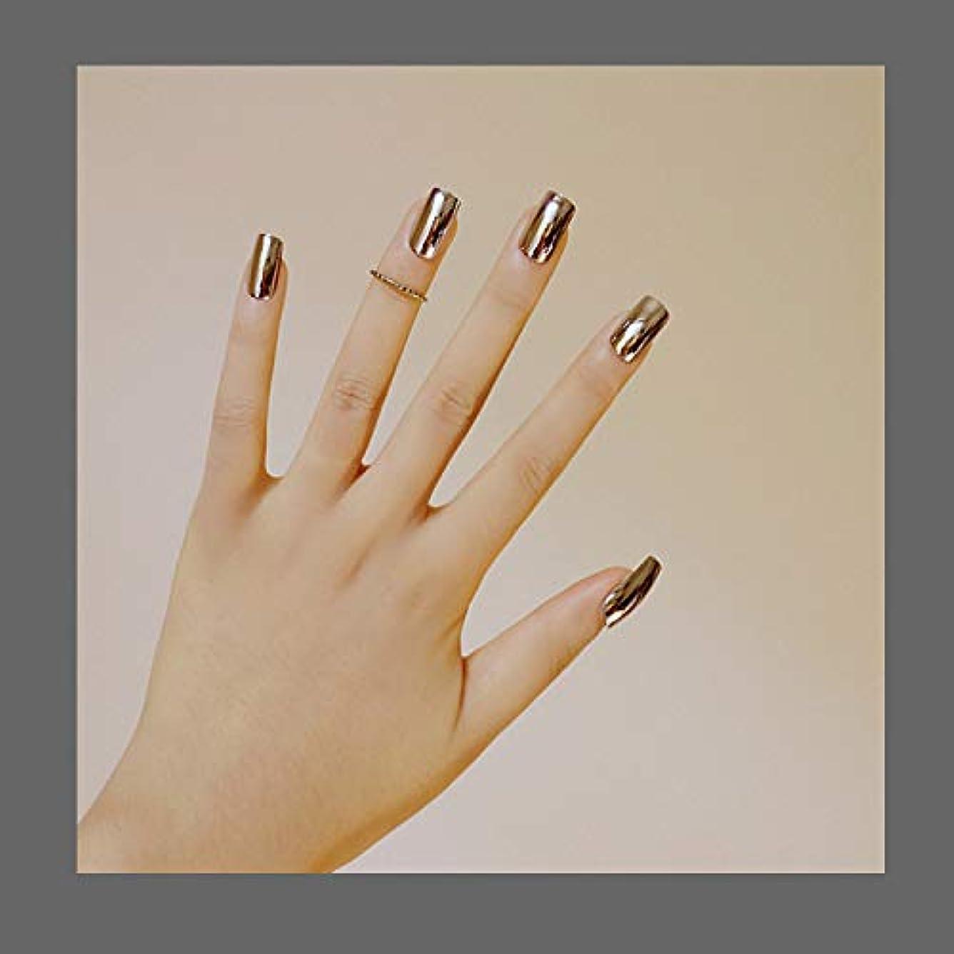 叱るピーク農奴欧米で流行るパンク風付け爪 色変化のミラー付け爪 24枚付け爪 フラットヘッド 銀
