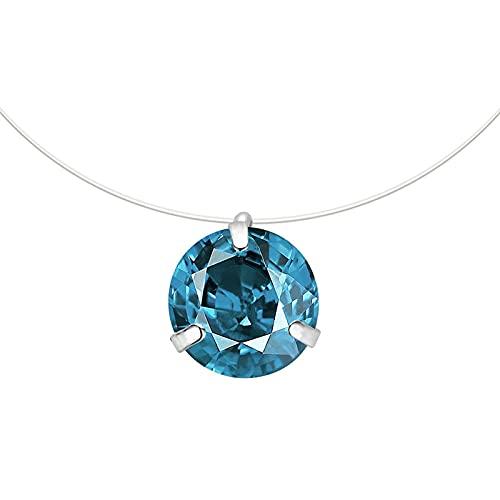 U/D Collar de línea de Pesca Transparente Invisible de corazón pequeño a la Moda, Collar de circonita, joyería para Mujer, Colgante de línea de Pesca